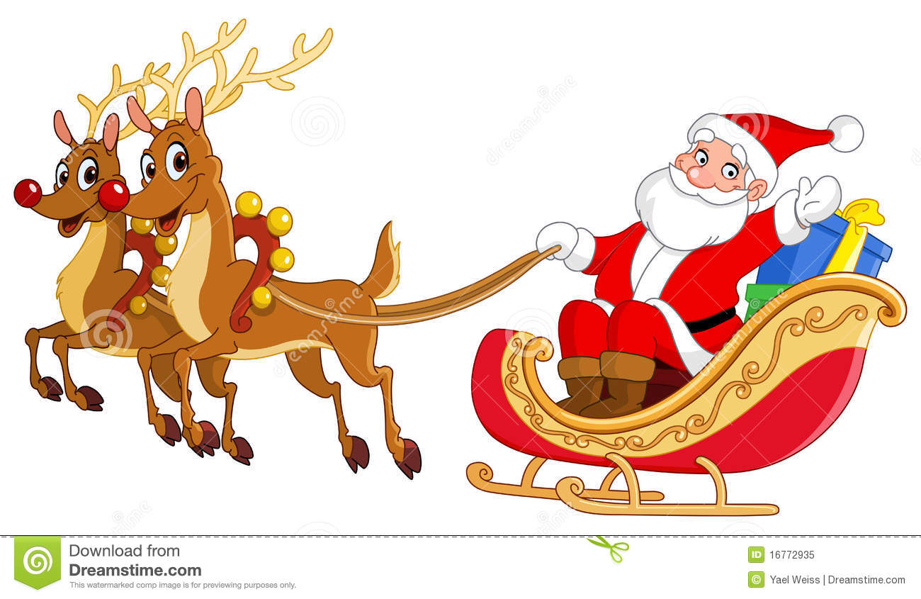 Illustration of Santa riding his sleigh.