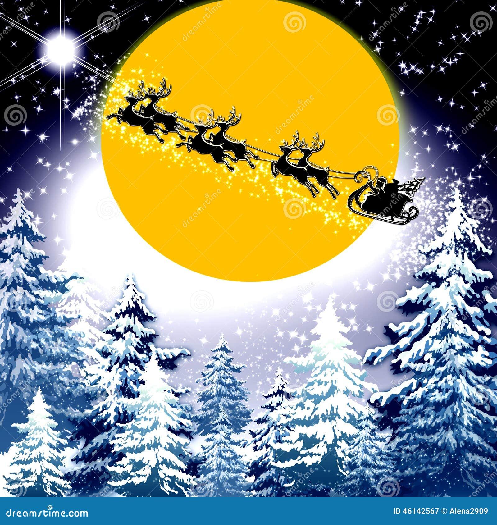 Santa Sleigh And Reindeer Moon