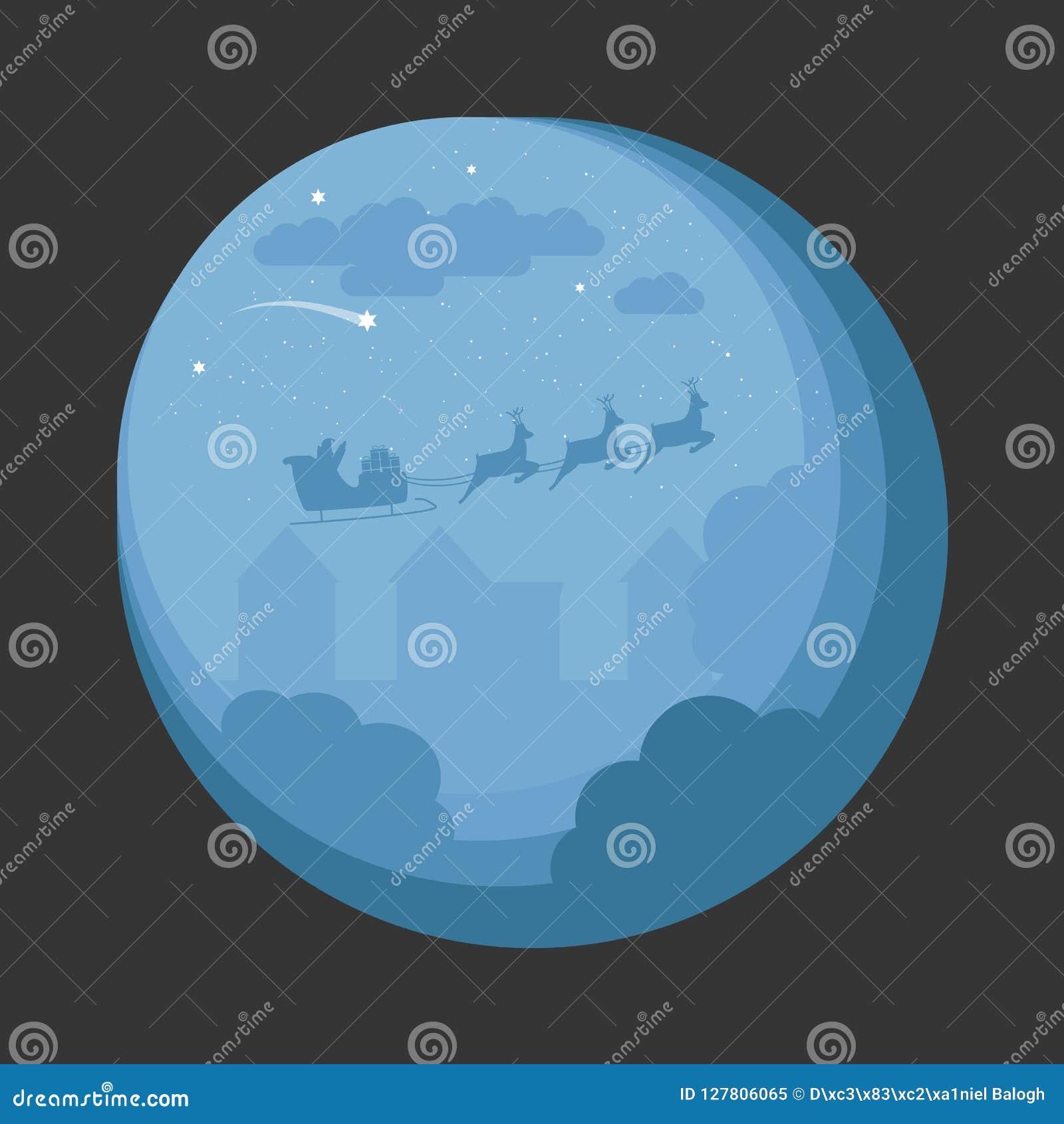Santa Sleigh Flying Over Night-Dorp Het Ontwerp van de kerstnachtscène voor Kaart, Uitnodigingen, Fyler
