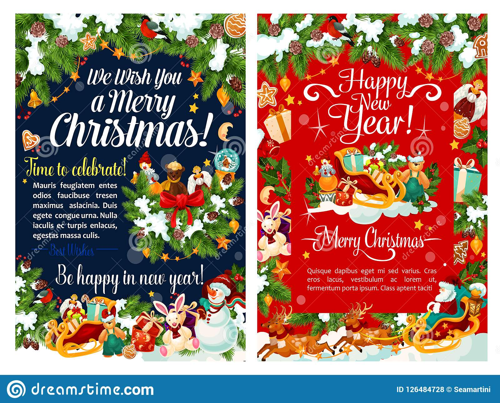 Santa Sleigh With Gift And Snowman Christmas Card Stock Vector