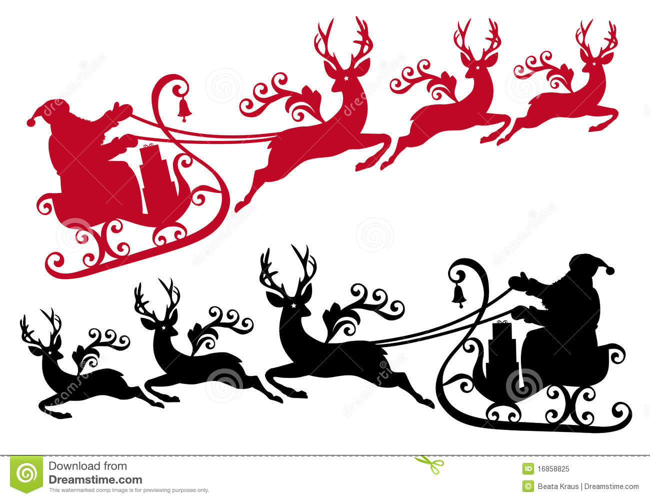 Santa with his sleigh and reindeer, christmas background.