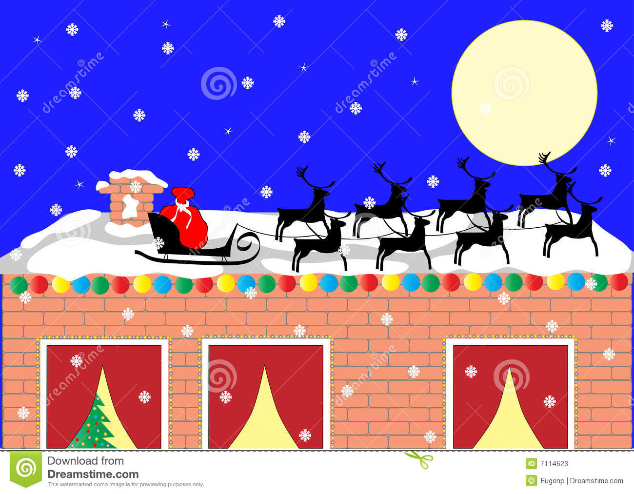 Santa Sleigh On The Roof Stock Vector Illustration Of