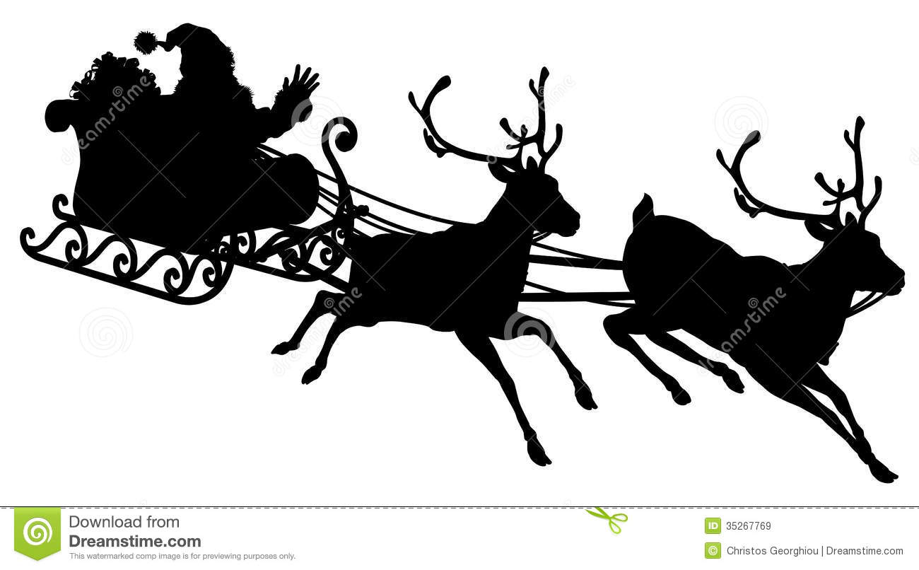 Sleigh Silhouette illustration of Santa Claus in his sleigh flying ...