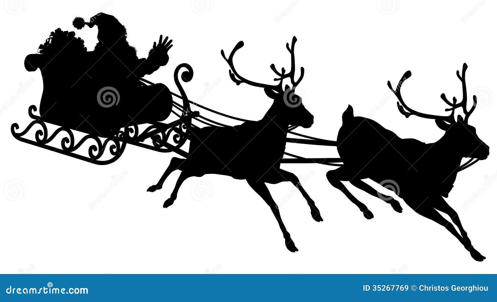 Santa Sleigh Silhouette Stock Vector Illustration Of Flying