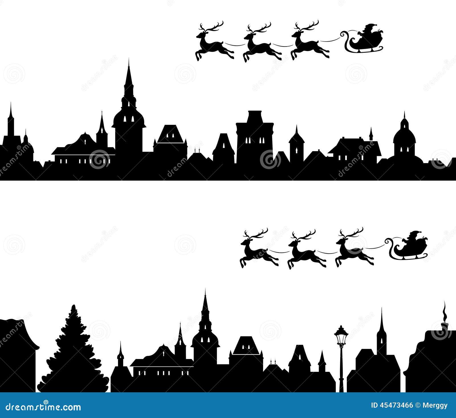 Santa Sleigh Silhouette Stock Vector - Image: 45473466