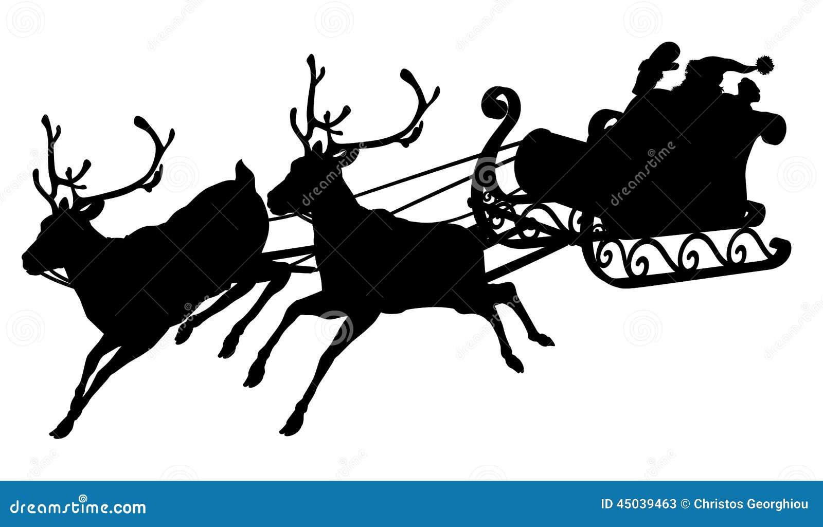 Zak Van Zwarte Piet Kleurplaat Santa Sleigh Silhouette Stock Vector Illustration Of