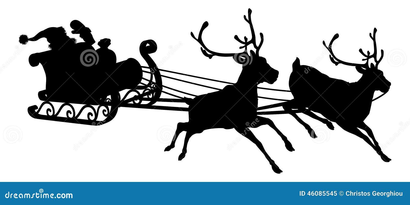 ... sleigh silhouette of waving Santa Claus in his sleigh and reindeer