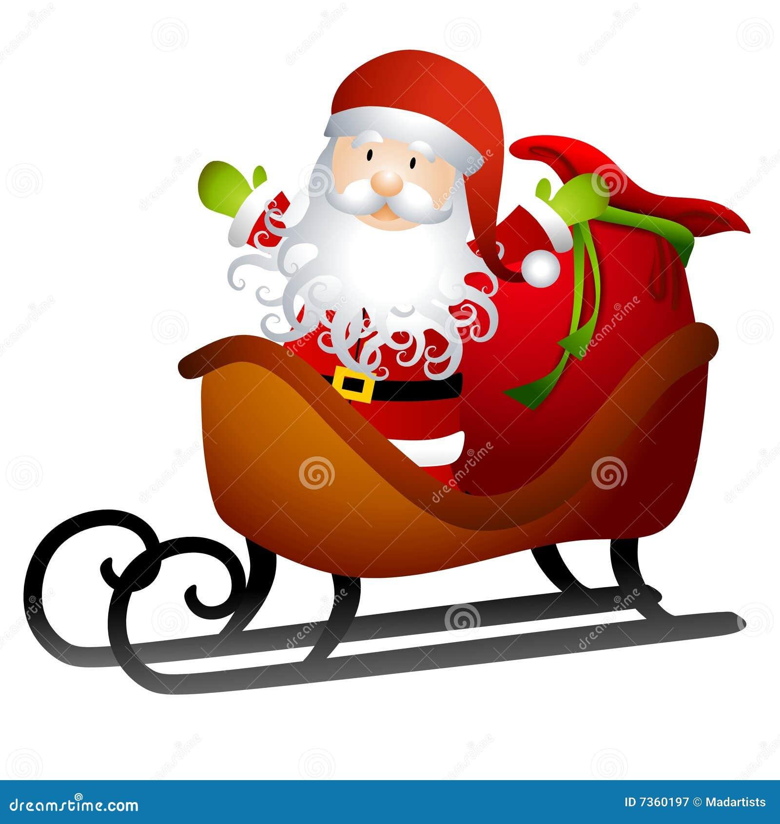 Cartoon Santa Sleigh Santa in sleigh of toys
