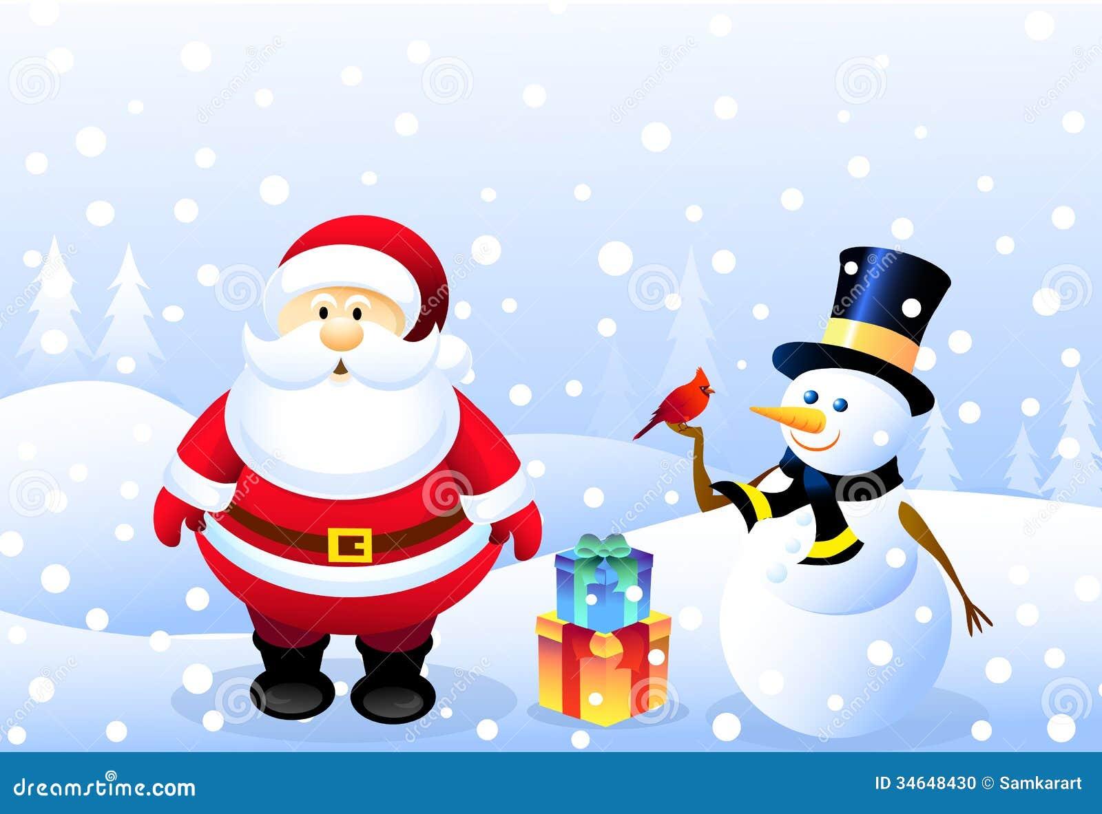 santasnowman christmas bird - Santa And Snowman