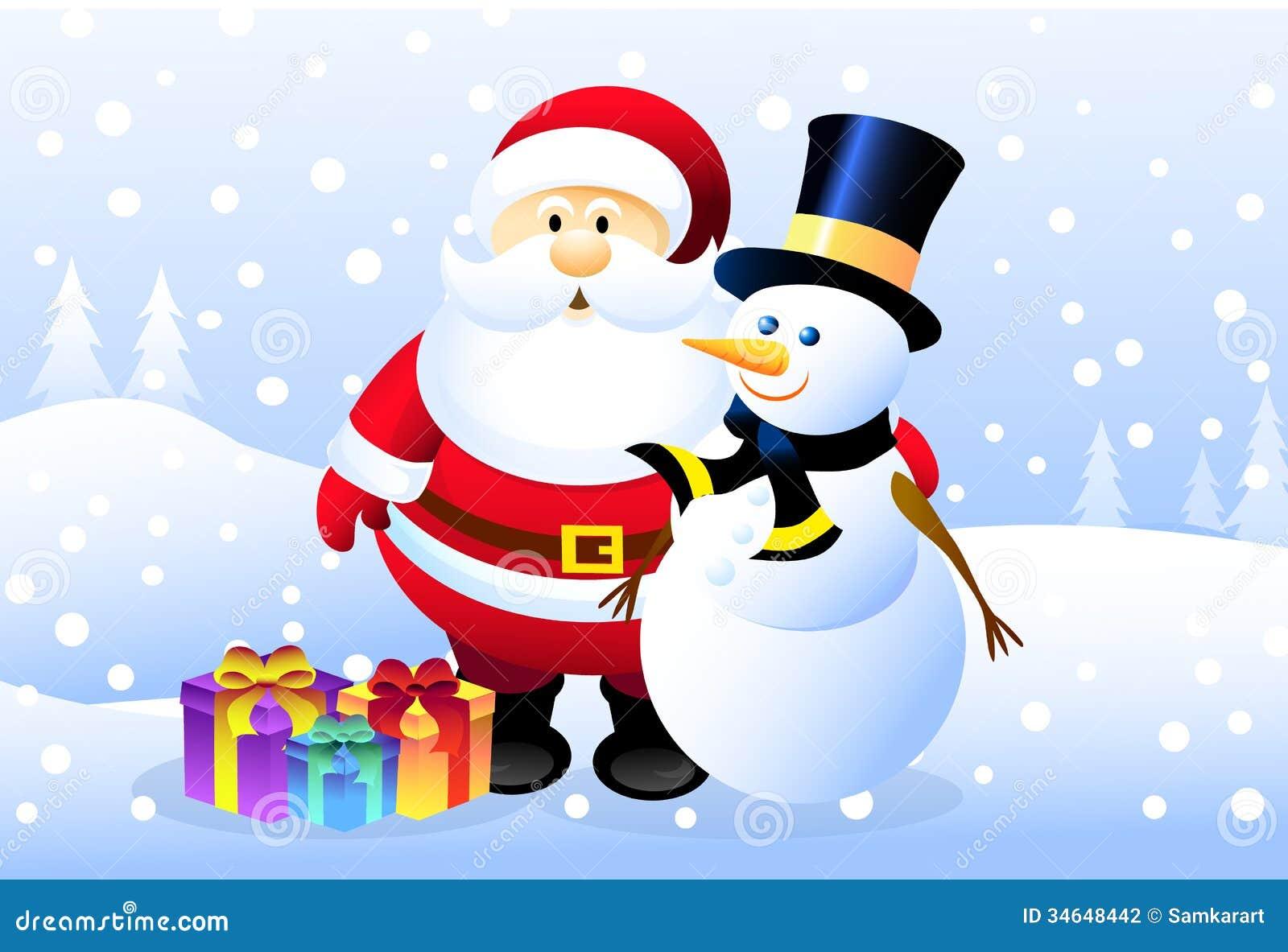 santa snowman - Santa And Snowman