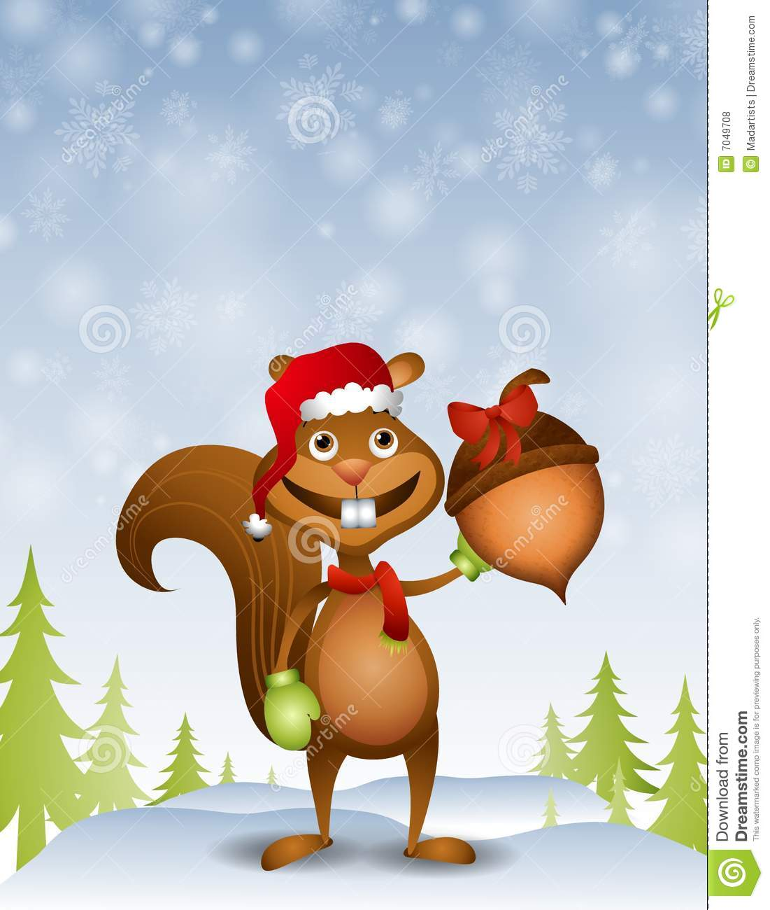 Santa Squirrel With Acorn Gift