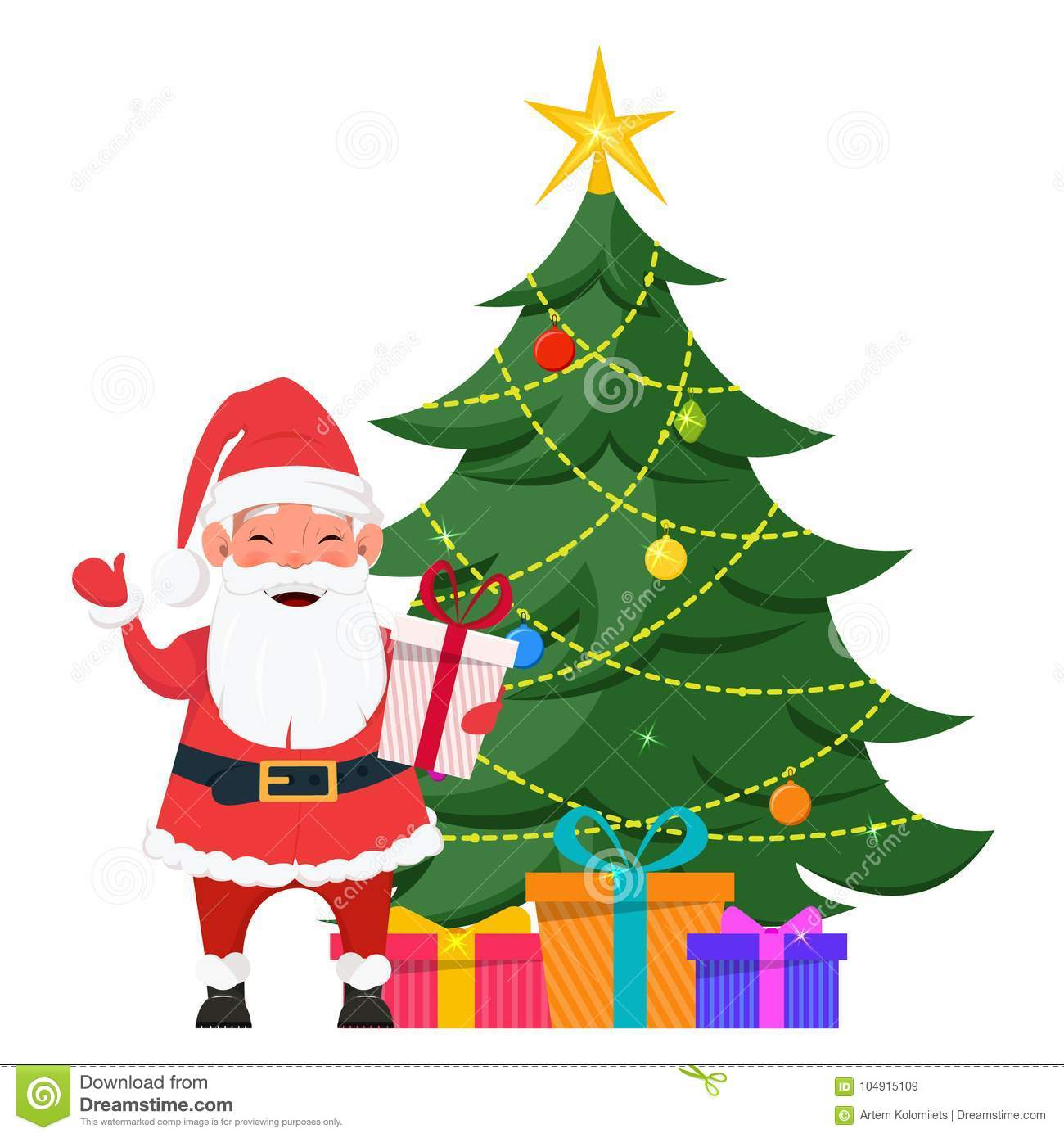 Presents Under The Christmas Tree: Santa Standing Near Christmas Tree With Presents Under It