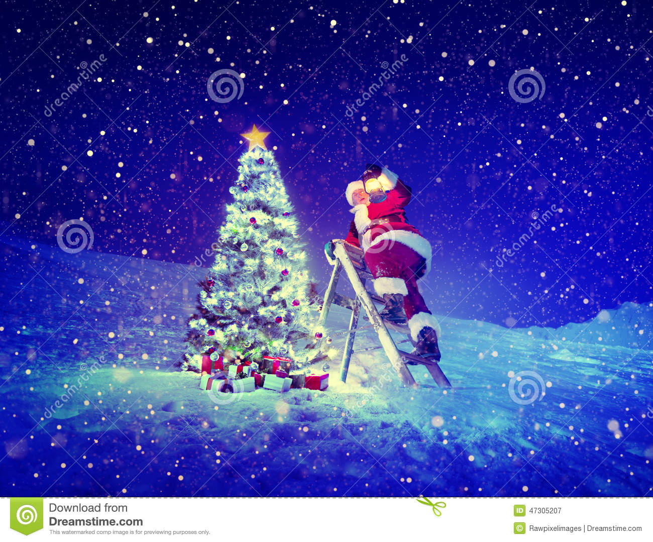 Santa Step Ladder Christmas Tree Snow Concept Stock Afbeelding