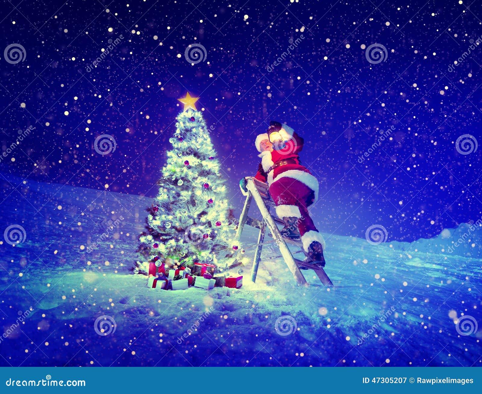 Santa Step-Ladder Christmas Tree Snow-Konzept Stockbild - Bild von ...