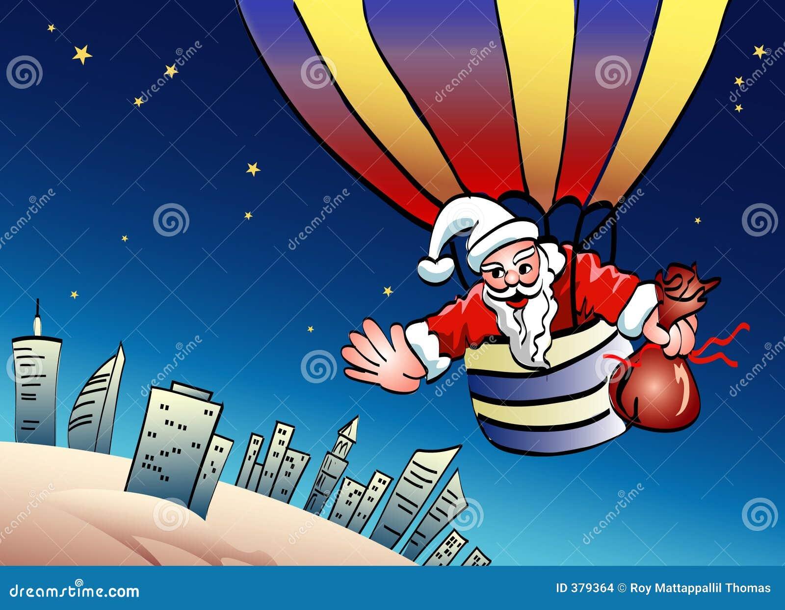 Santa sur le parachute