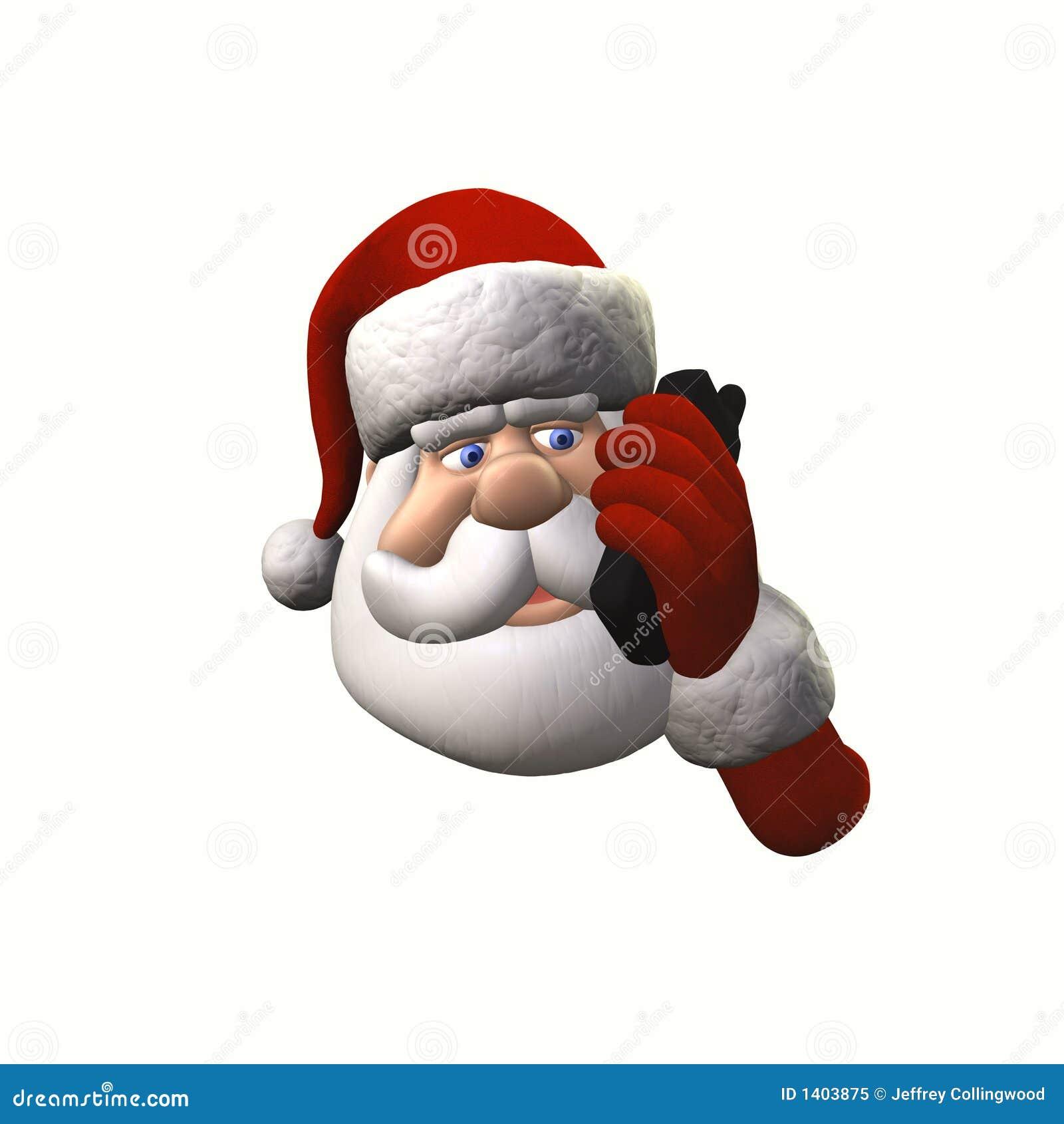 Santa sur le téléphone portable - d isolement