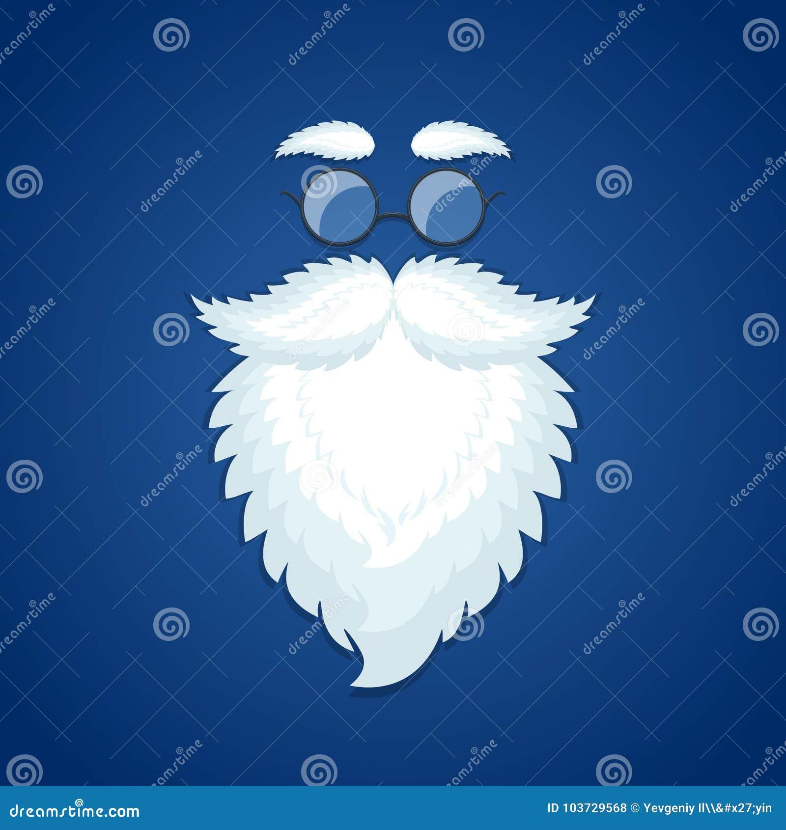 Santa szkła na błękitnym Bożenarodzeniowym tle i broda