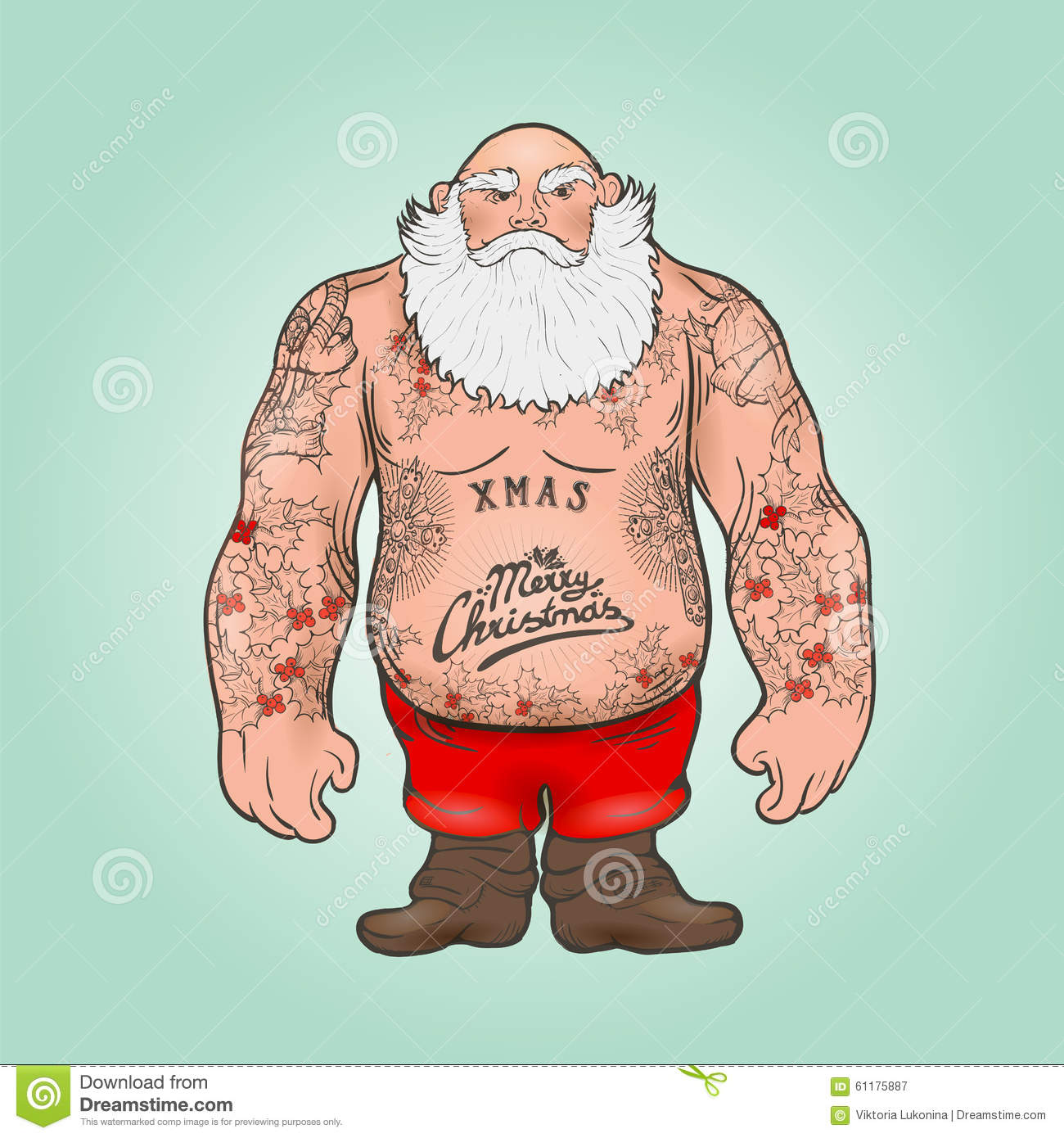 Santa with tattoos stock vector illustration of male