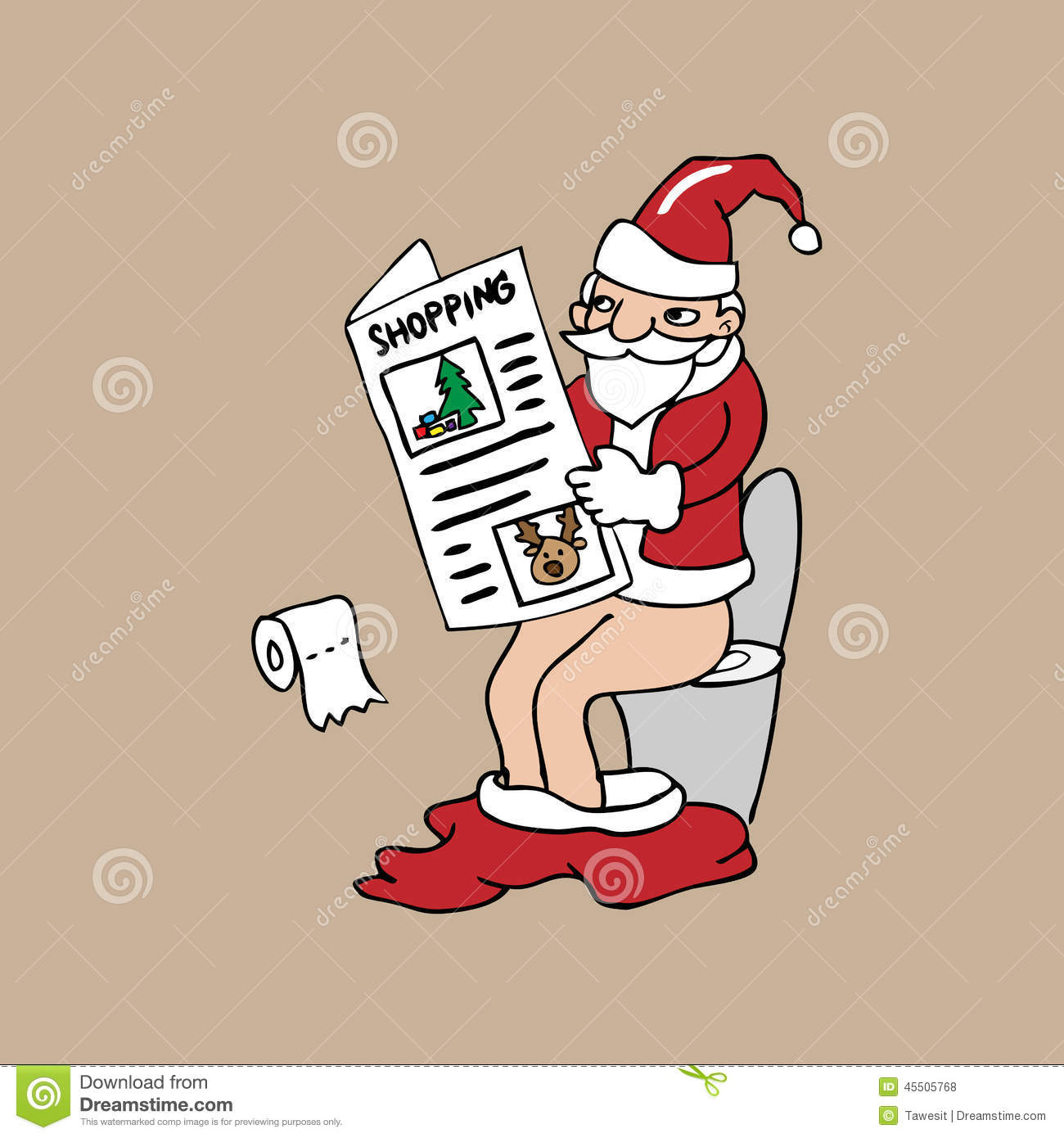 Santa In Toilet Reads Newspaper Stock Vector Image 45505768