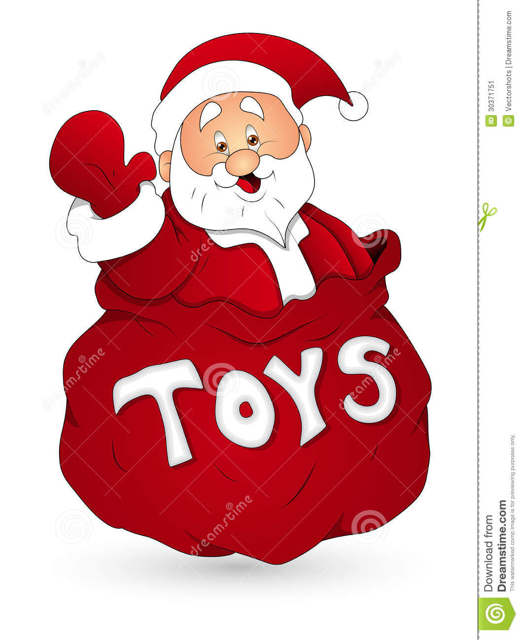 Christmas Toys Cartoon : Santa with toy bag christmas vector illustration stock