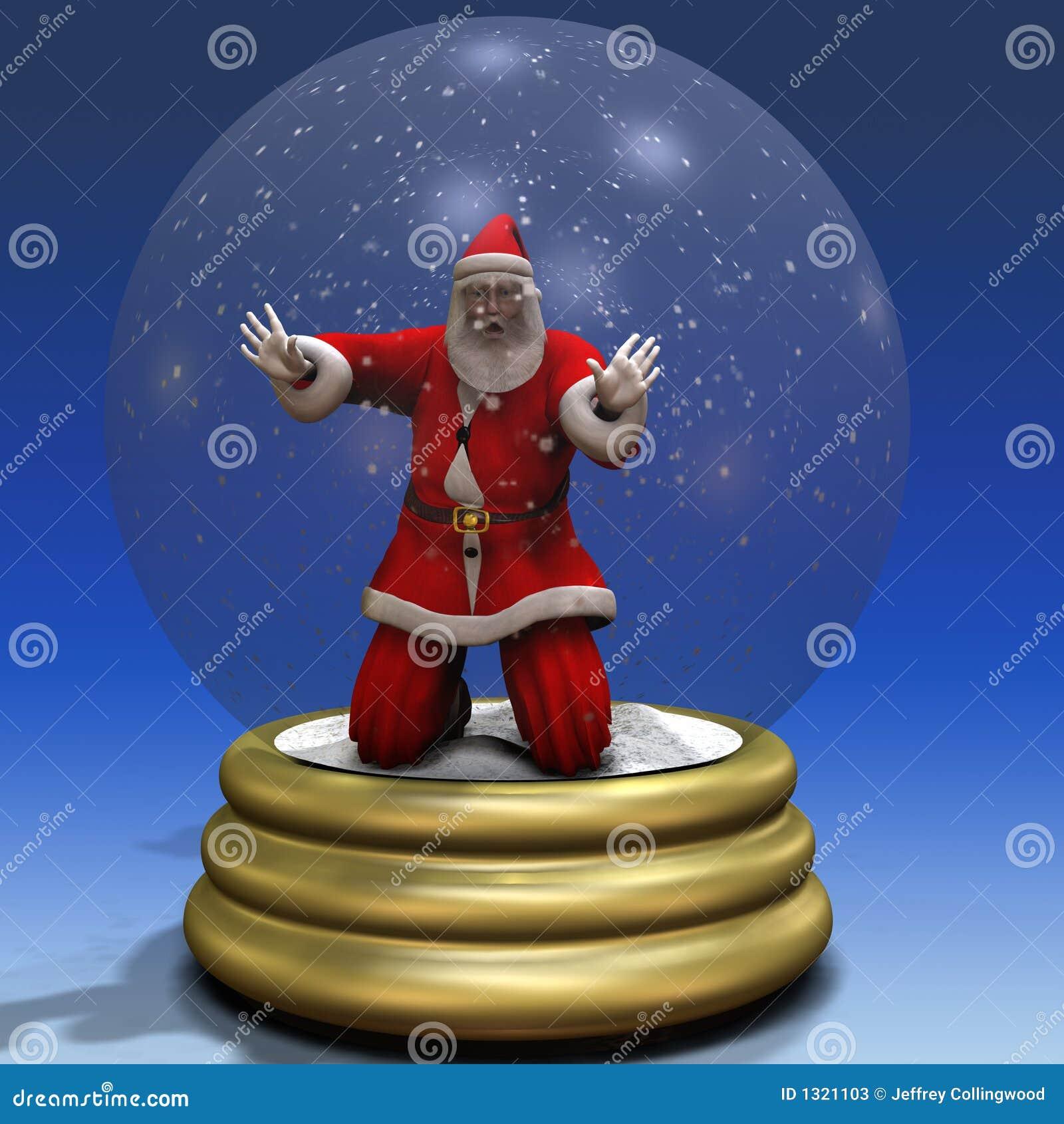 Santa Trapped In Snow Globe 3 Stock Photos Image 1321103