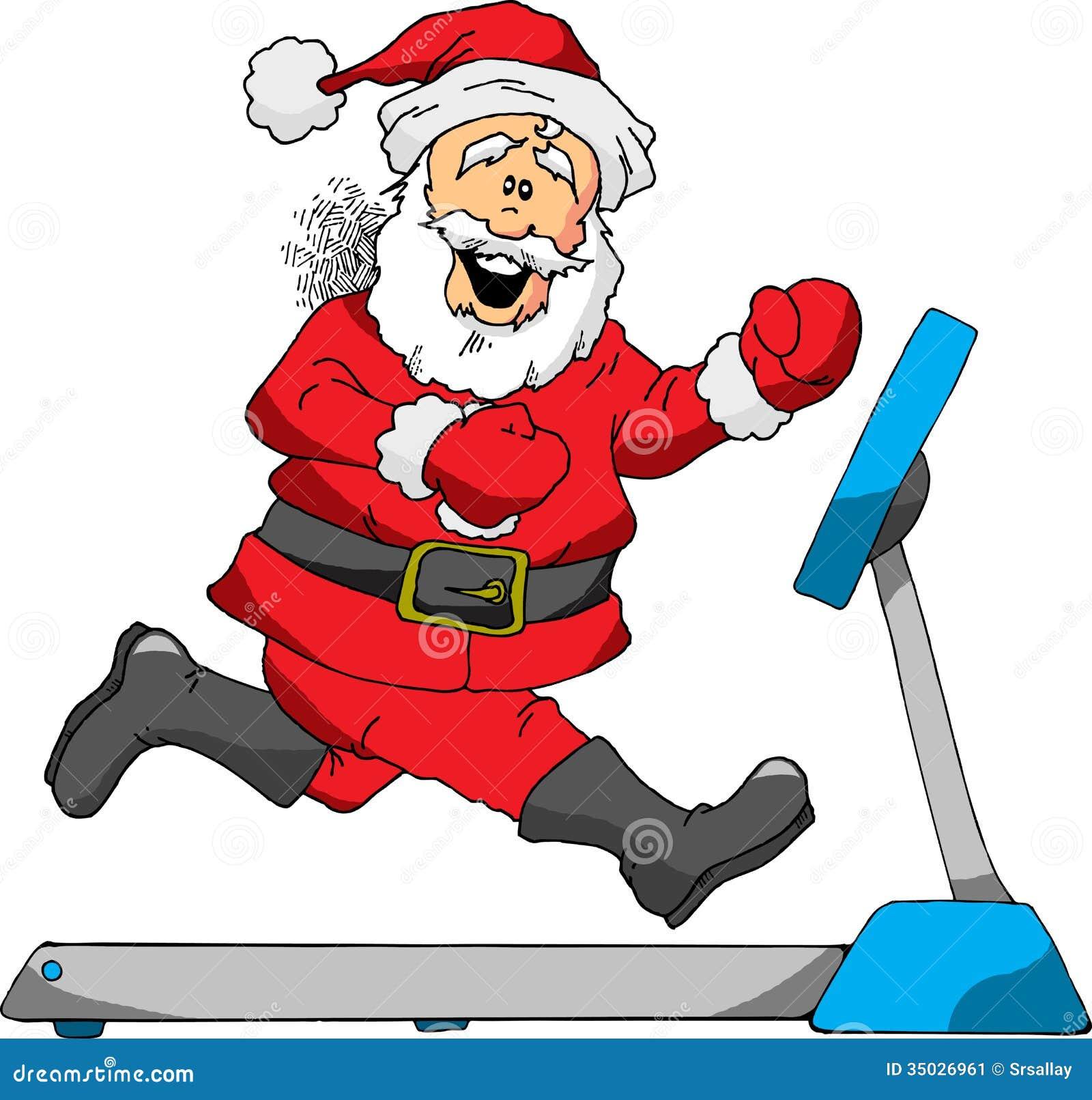 Displaying 19 gt  Images For - Cartoon Treadmill   Santa Jogging