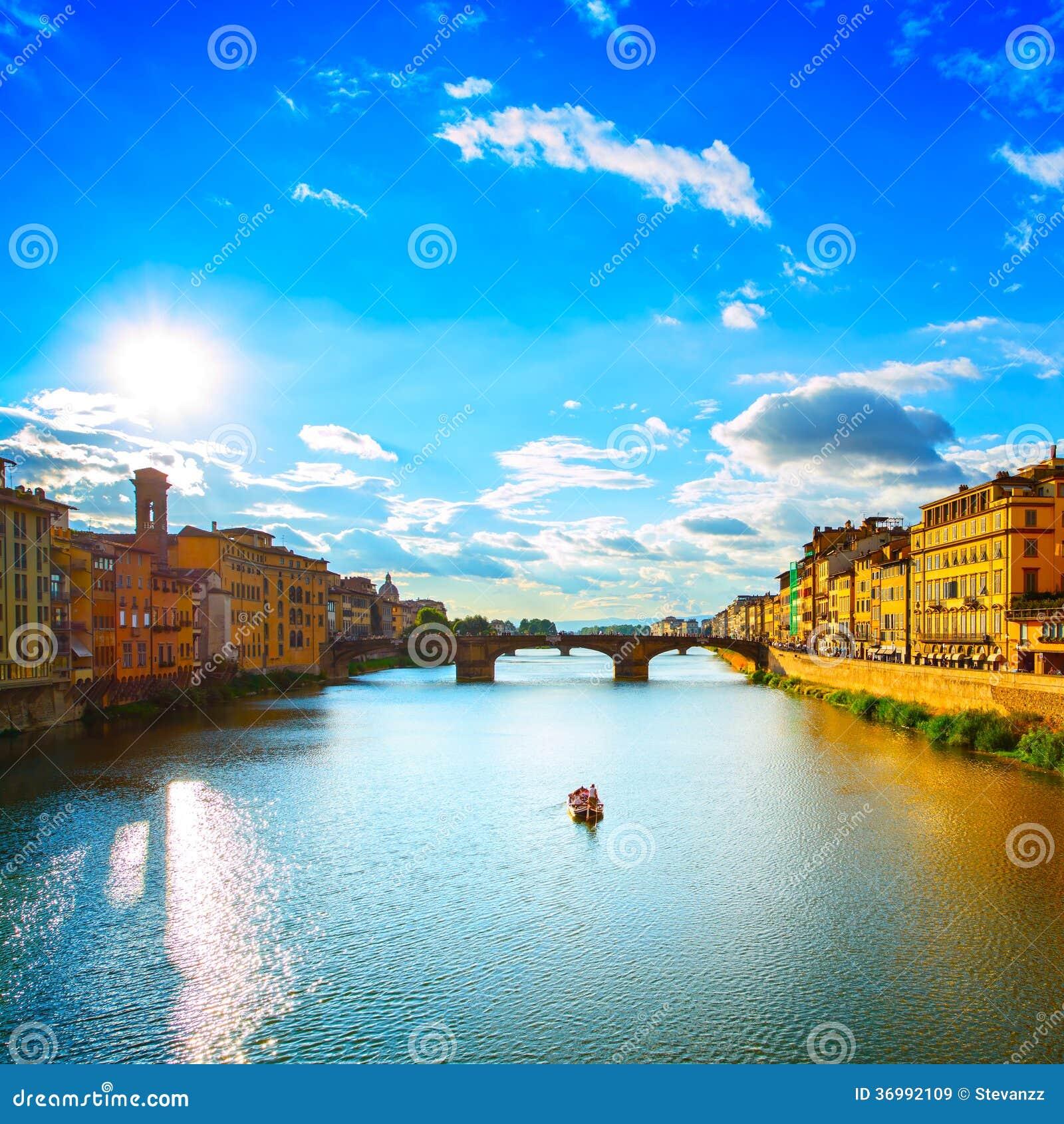 Santa Trinita Bridge On Arno River, Sunset Landscape. Florence, Royalty Free Stock Images ...