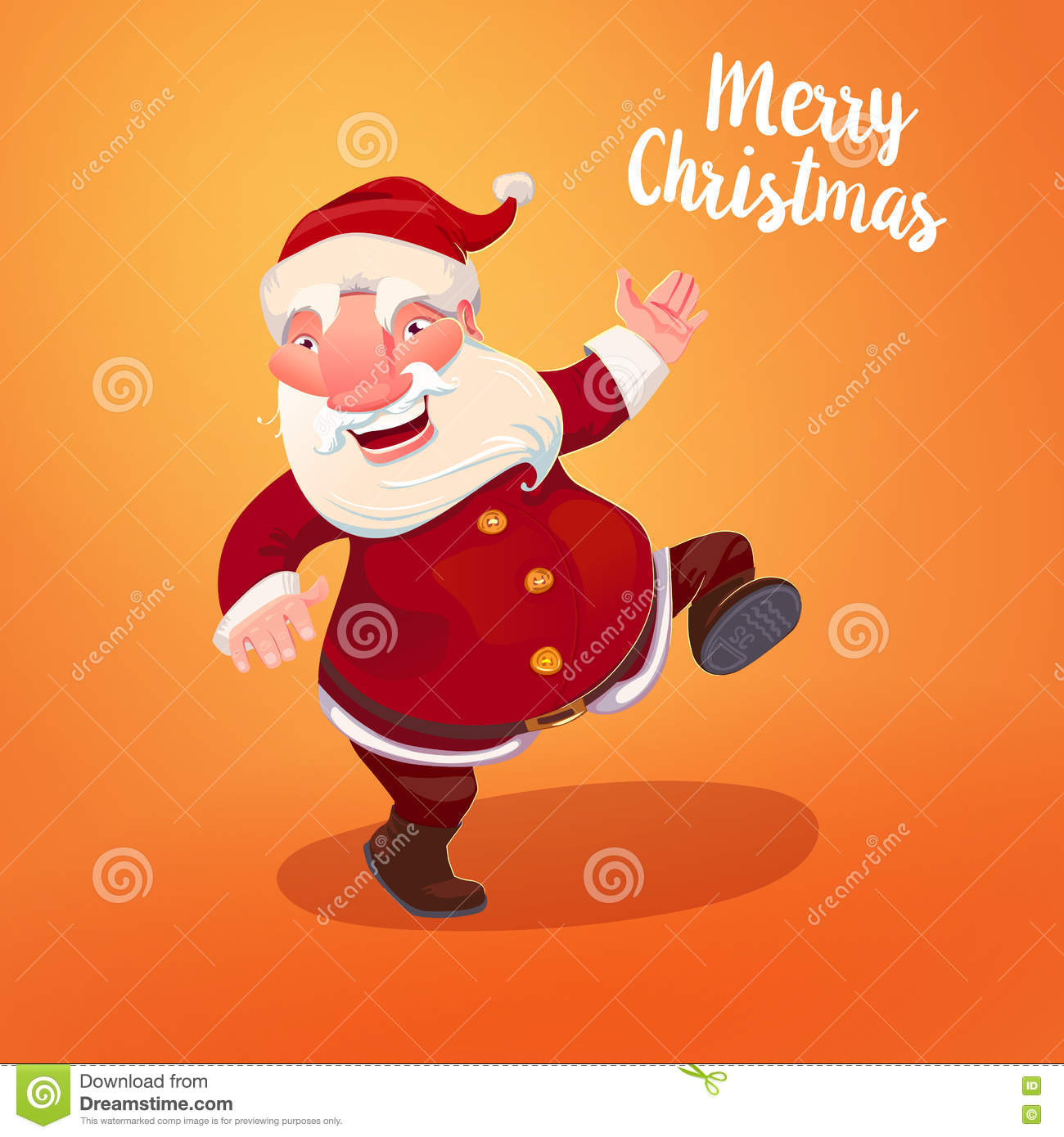 Santa With Typography Gritings Stock Vector Illustration Of