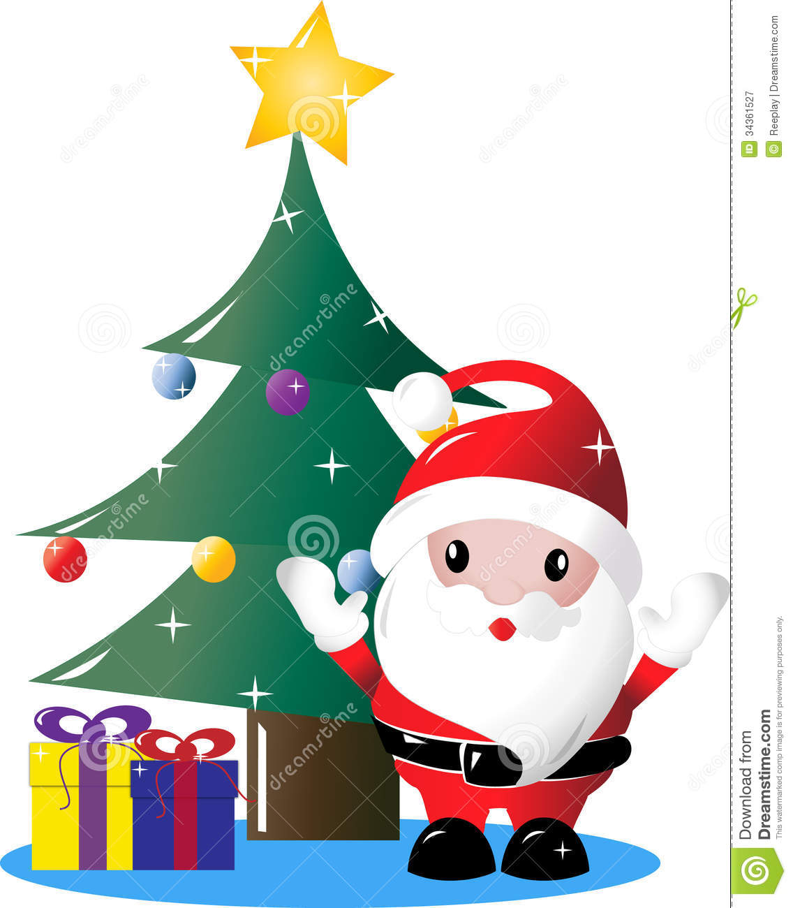 Santa Under Christmas Tree With Presents Royalty Free Stock ...