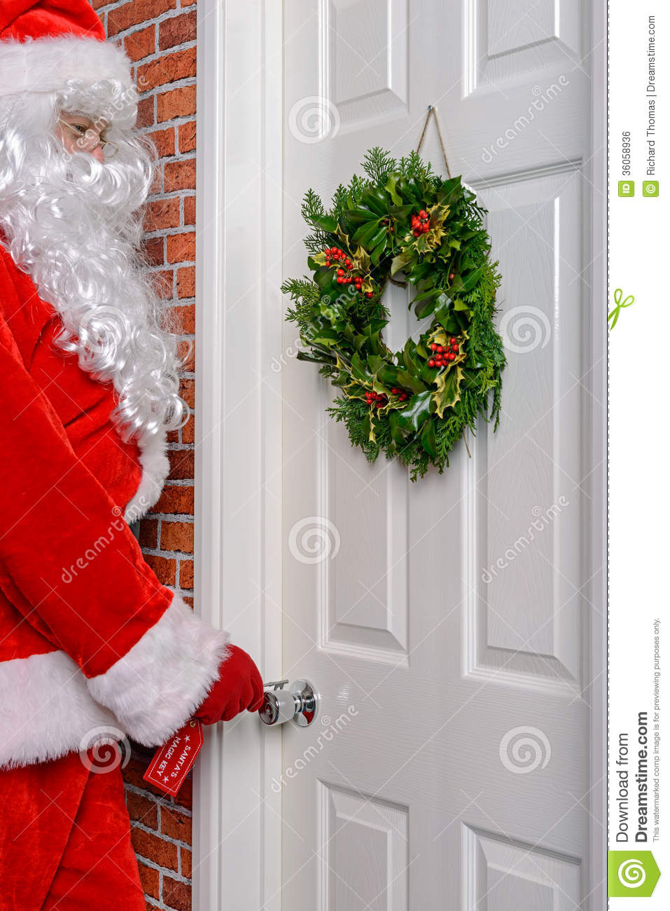 Santa Using His Magic Key Stock Photo Image Of Lock
