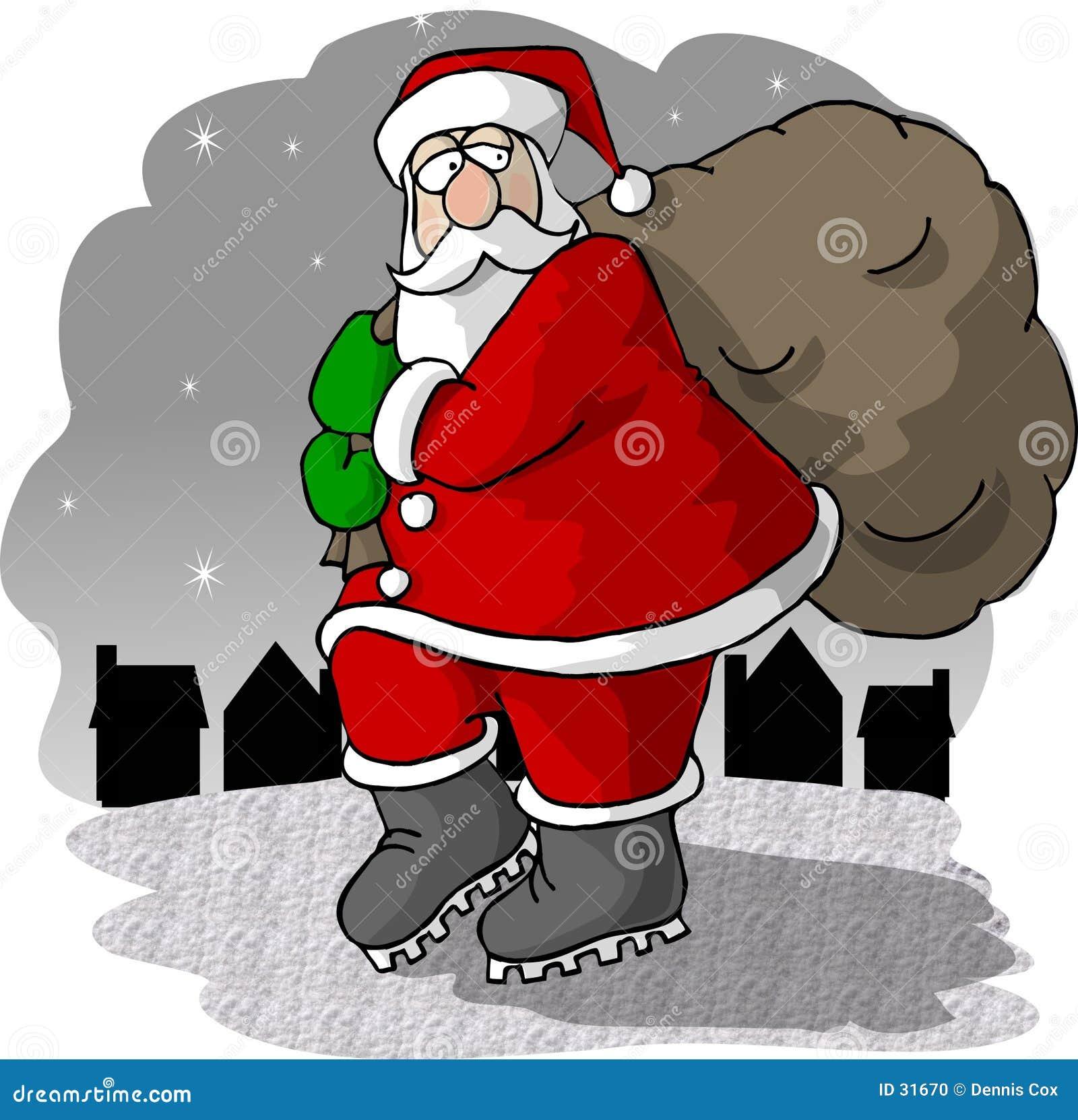 Santa venant à la ville