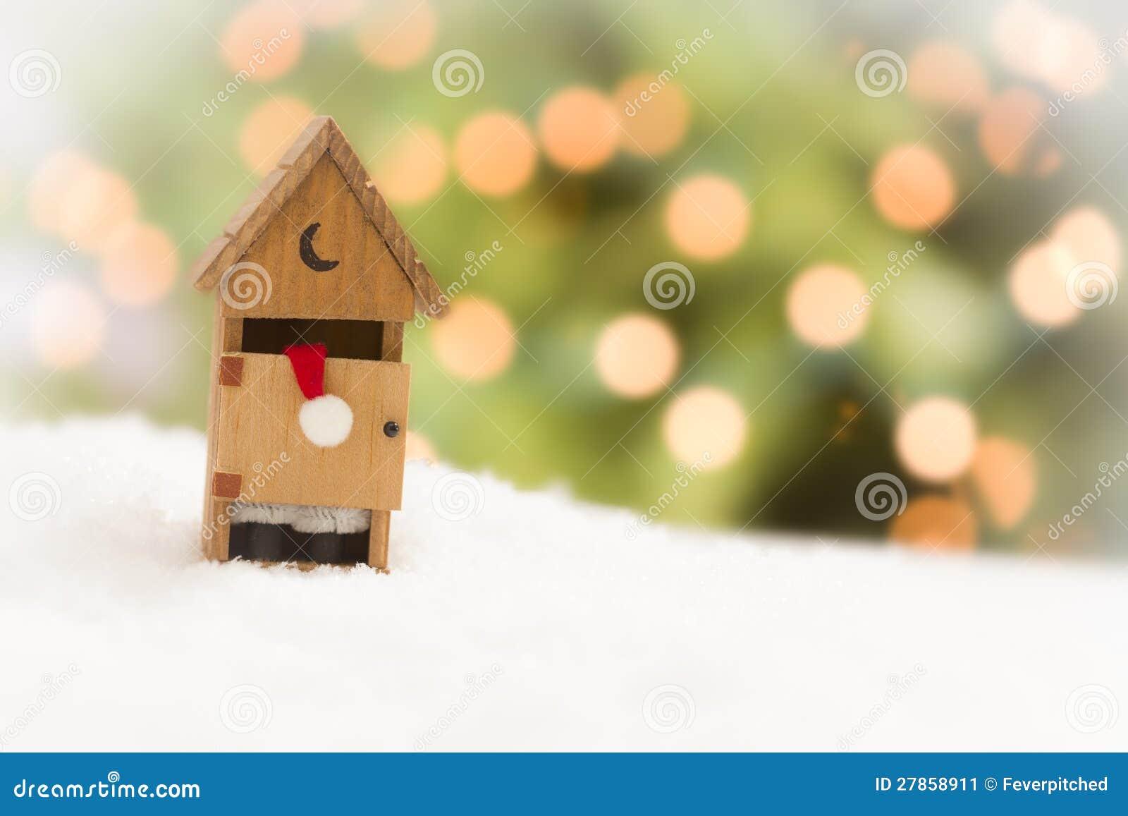 Santa w Outhouse na śniegu, Abstrakcjonistycznym tle i