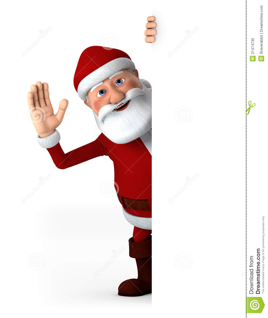 Santa waving with blank sign stock illustration image