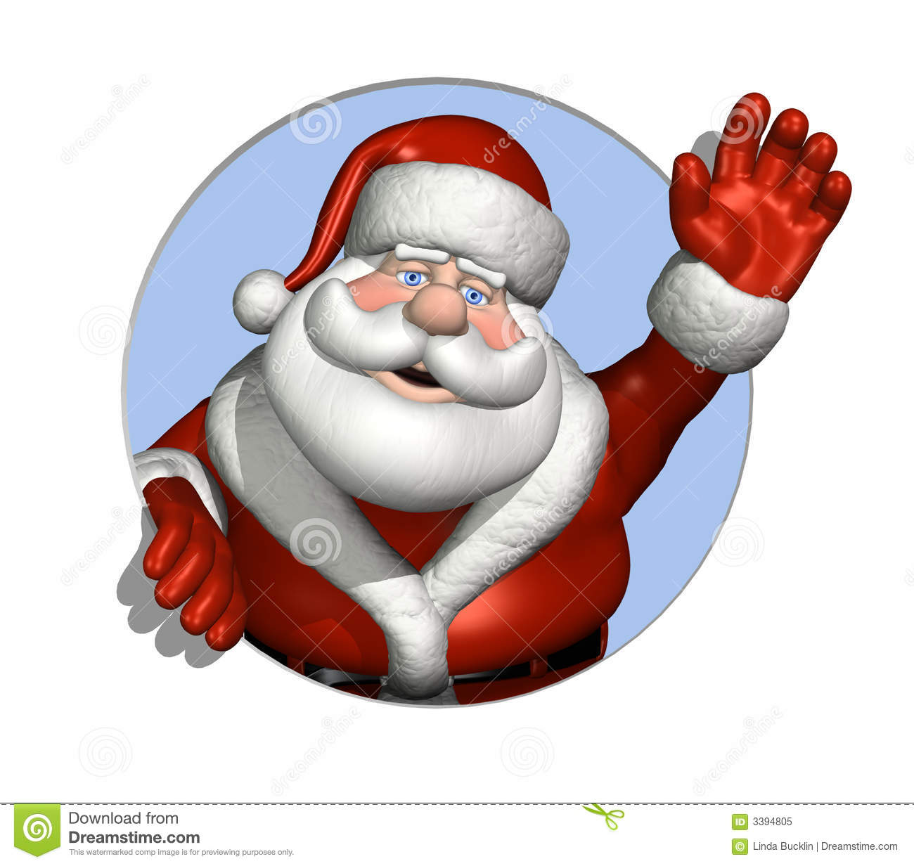Santa waving through a circle stock illustration