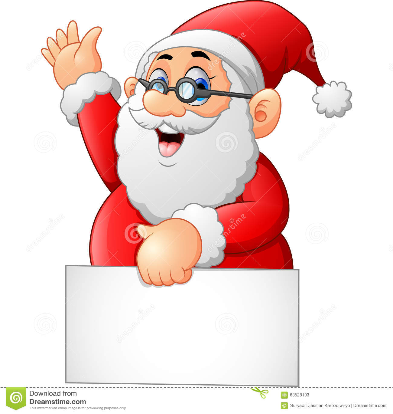 Santa waving and holding blank sign stock illustration