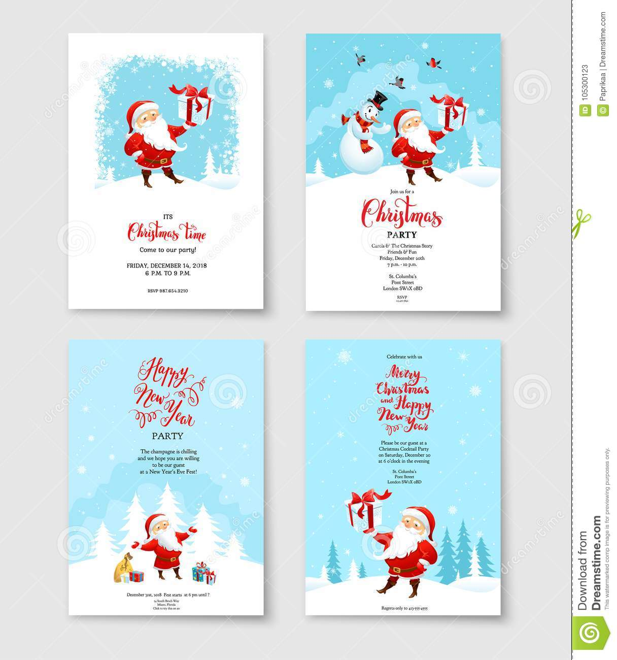 Santa Winter Party Card Stock Vector Illustration Of