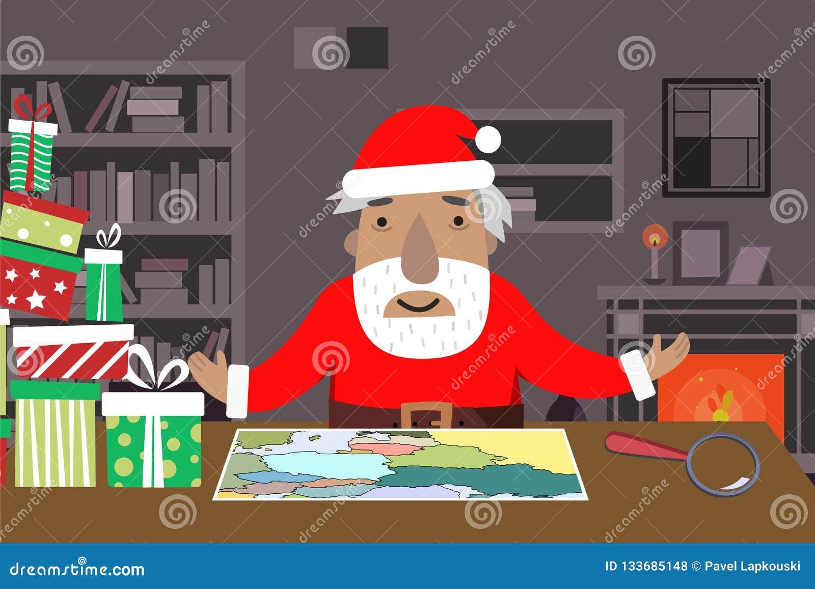 Santa Work utrymme med översikten och förstoringsglaset, gåvaaskar, tabell, hyllor, spis