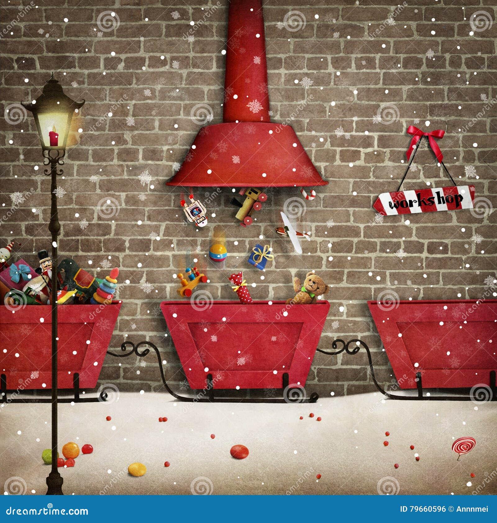 Santa workshop stock illustration illustration of congratulation santa workshop download preview m4hsunfo