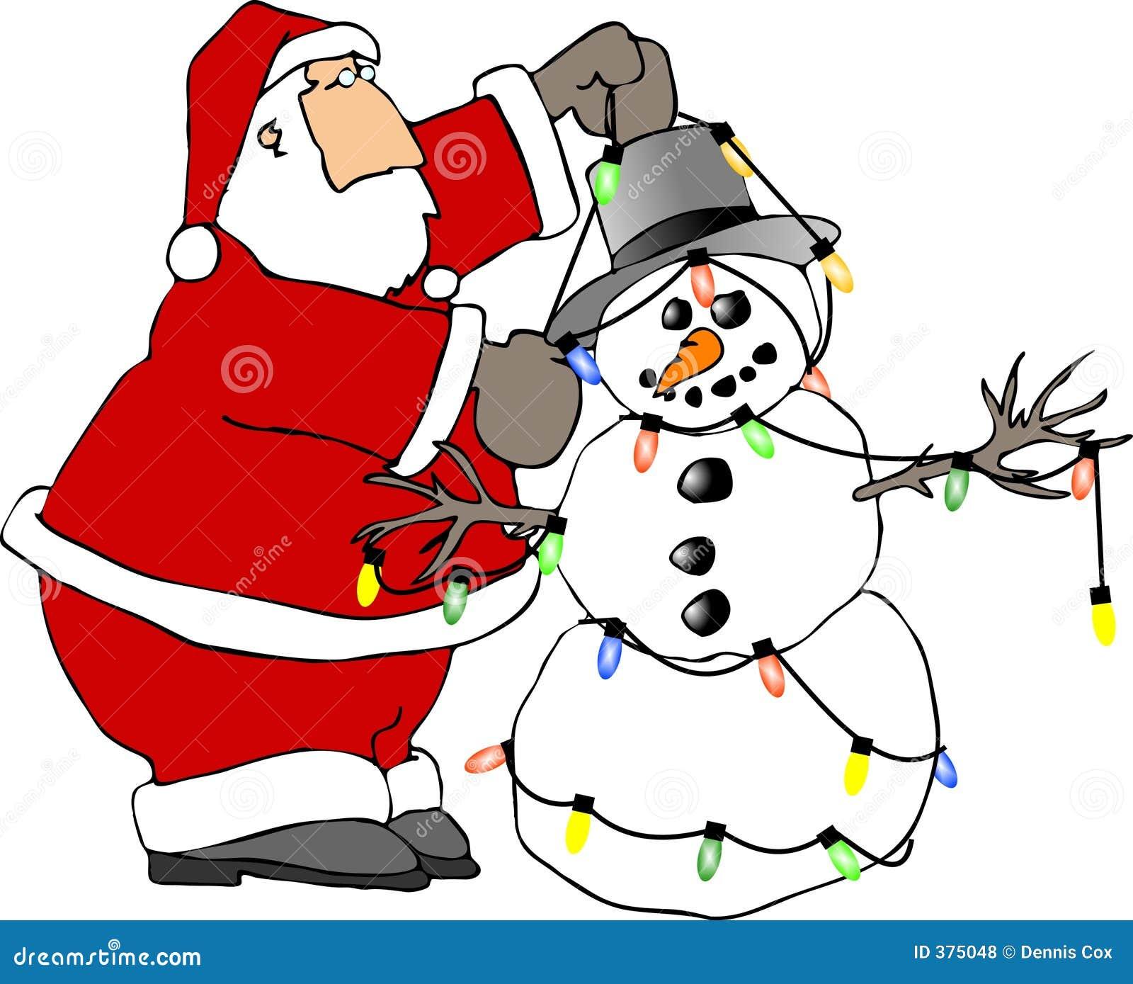 Santa y el muñeco de nieve