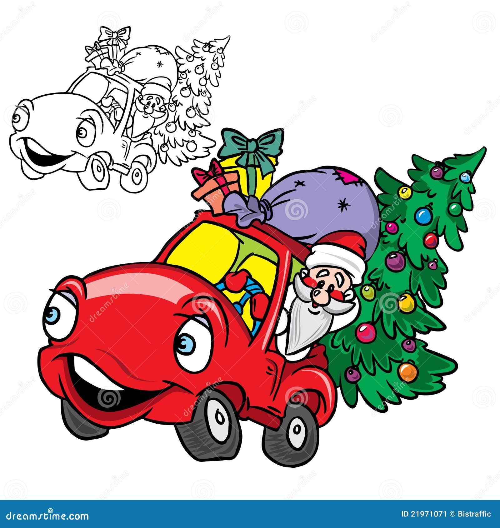Santa Driving Blue Classic Car
