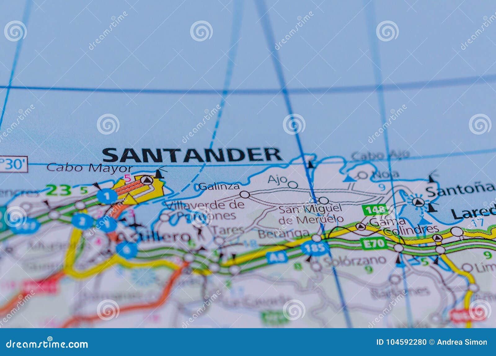 Santander Auf Karte Stockfoto Bild Von Diat Euro Karte 104592280