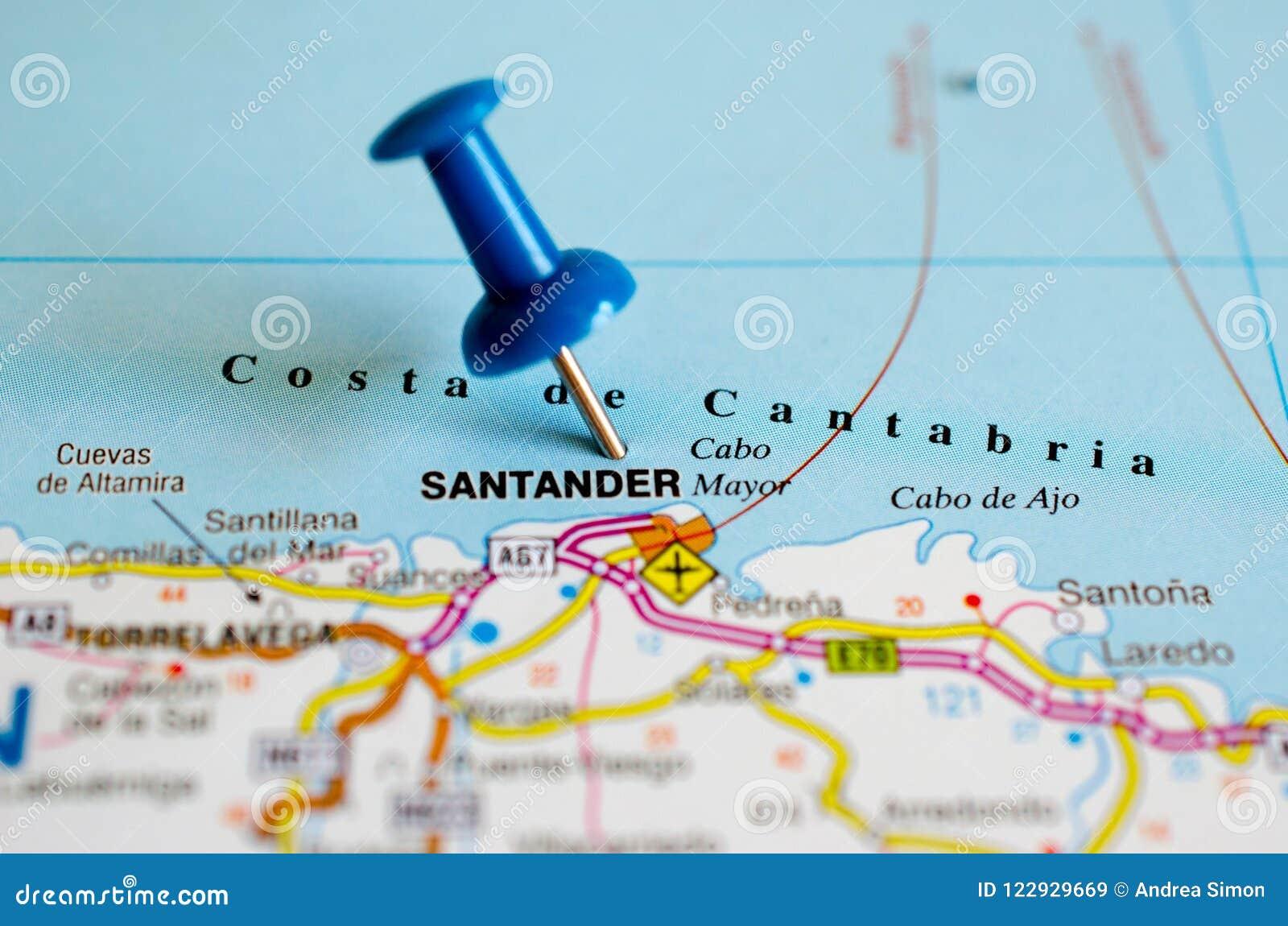 Mapa De Santander España.Santander Espana En Mapa Imagen De Archivo Imagen De