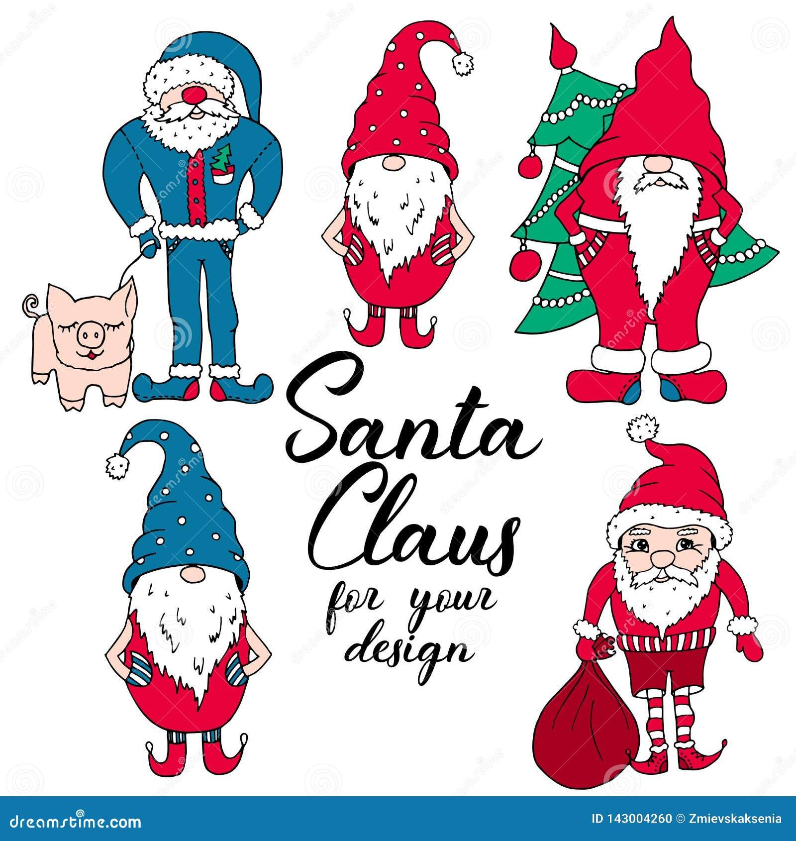 Santas in rode en blauwe kleuren