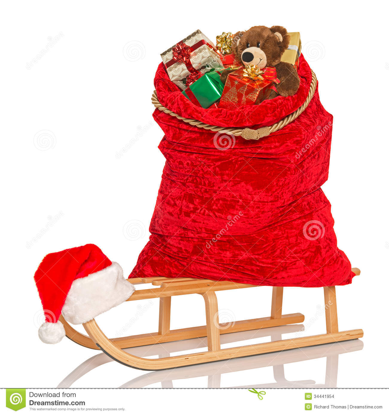 Santas Sack On Sledge Isolated Stock Images - Image: 34441954