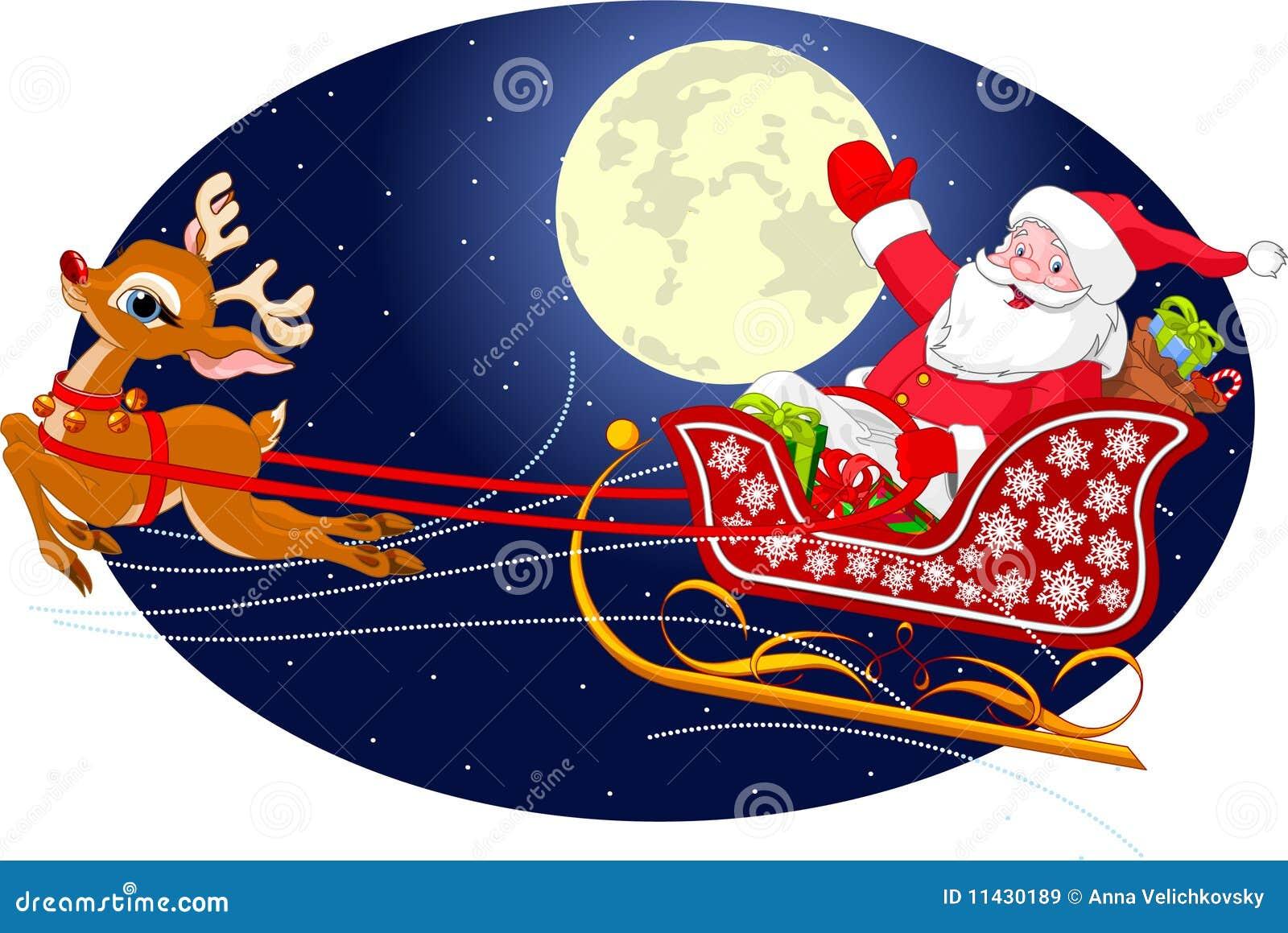 Santas Sled Stock Vector Illustration Of Delivering