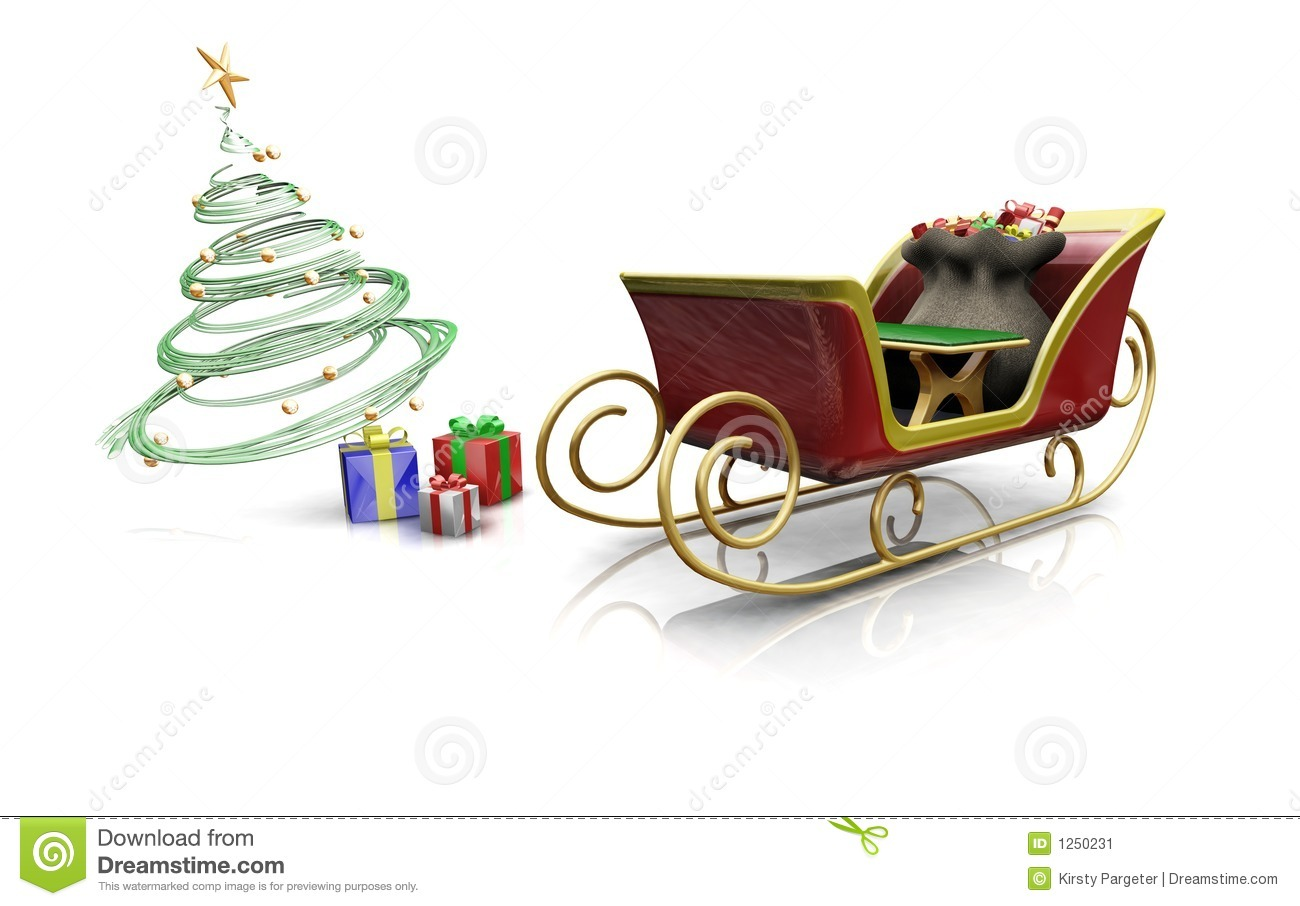 3D render of santas sleigh with presents and a Christmas tree.