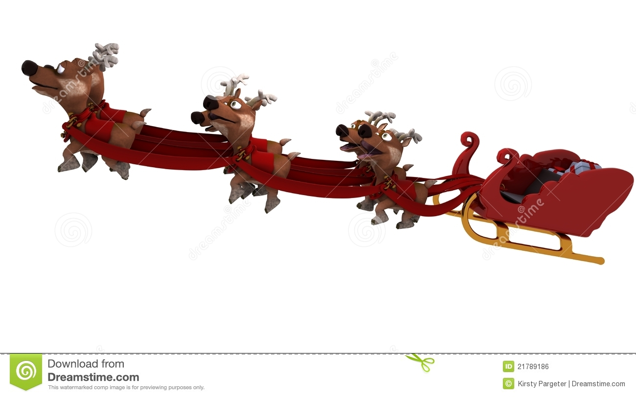 Santas Sleigh And Reindeer Royalty Free Stock Image - Image: 21789186