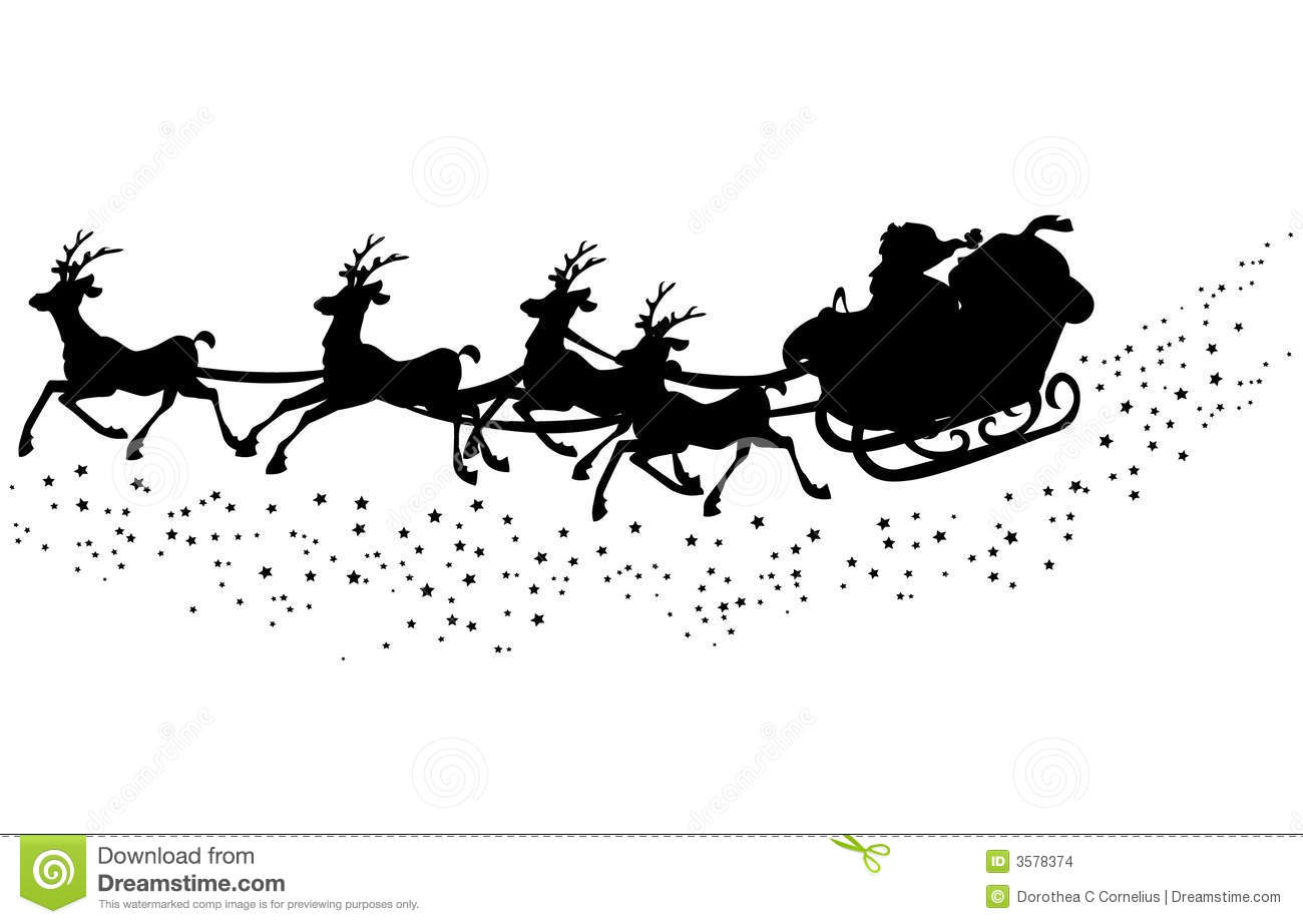 ... silhouette of santa claus in the sleigh with his reindeer´s