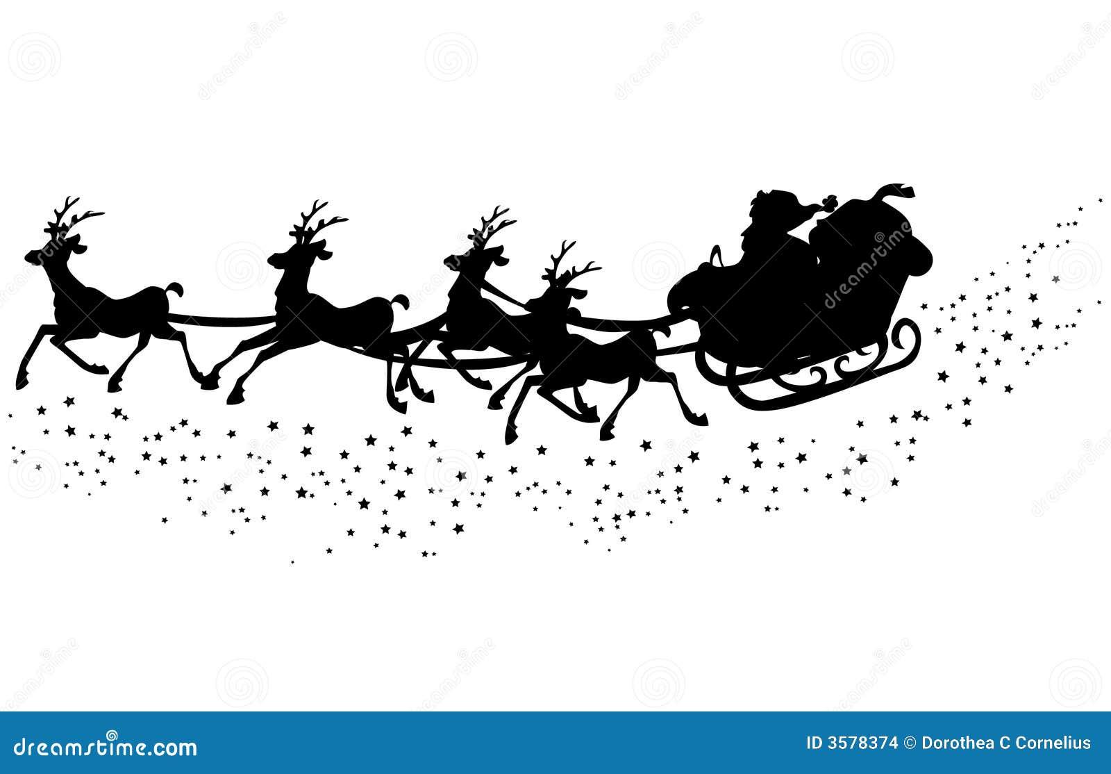 Santas Sleigh Silhouette Stock Illustration Of