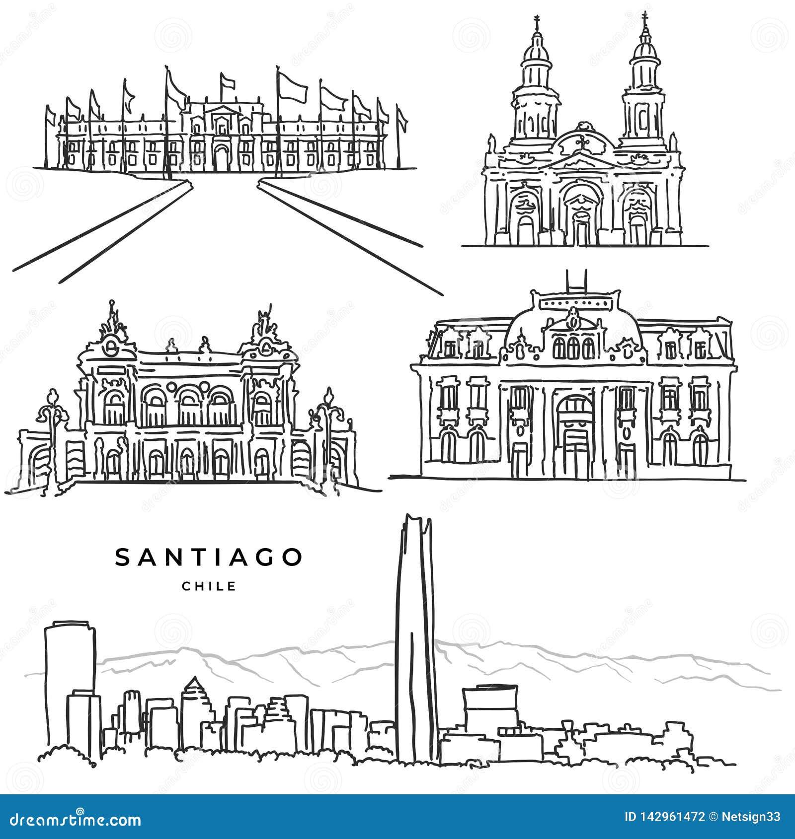 Santiago Chile architektury sławna ręka rysować ikony